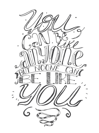 a place of life: Motivating lettering vector illustration about self-confidence and your place in life. Black and white, hand drawn, perfect for t-shirt template or any print design. Letters italic, script, classic, stylish