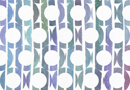 holey: Blue and purple illustration, cool and branding freehand texture based on watercolor gradient stripes in large holey circle shapes. Large, grainy, bright image with imperfections on watercolor paper for your design
