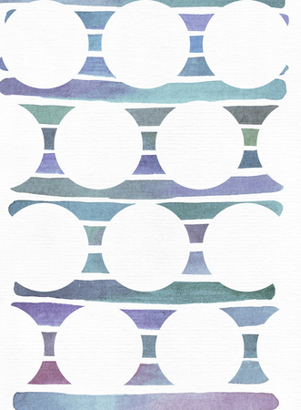 imperfections: Blue and purple illustration, cool and branding freehand texture based on watercolor gradient stripes on background of white circles. Large, grainy, bright with imperfections on white textured  watercolor paper Stock Photo