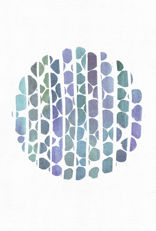 imperfections: Blue and purple illustration, cool branding freehand texture based on watercolor gradient stripes and round template, made with brush smears on white watercolor paper. Large, grainy, bright, with imperfections Stock Photo
