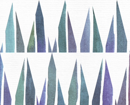 imperfections: Blue and purple illustration, cool and branding freehand texture, based on watercolor gradient stripes and long triangles pattern. Large, grainy, bright template with imperfections on white watercolor paper.