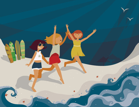 exhilaration: Horizontal bright illustration with young girls going to the sea. Vector image, with surf boards, sea, fun and happy girls. Blue sun, shadows and starfish on sand. Cute girls running with hands up, smiling
