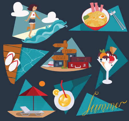 rejoice: Isolated on dark blue vector illustration with set of summer vacation images. Happy girl and sea, ice cream, cocktail, cool noodle, flop flops and pointer with bags and suitcases, sunbed and umbrella.