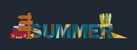 exhilaration: Summer lettering on dark background, dedicated to vacation, holidays and sea, with surf boards, point board with bags and suitcases. Letters based on triangles graphic. Branding vector illustration.