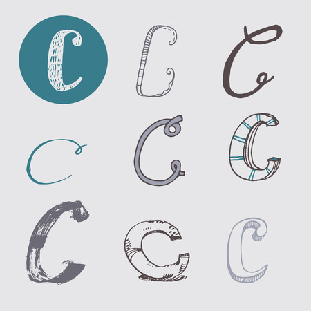 italic: Original letters C set, isolated on light gray background. Alphabet symbols, editable, hand drawn, creative, in different variations, Italic, 3d, freehand, drawn with brush and nib vector Illustration