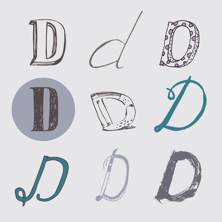 italic: Original letters D set, isolated on light gray background. Alphabet symbols, editable, hand drawn, creative, in different variations, Italic, 3d, freehand, drawn with brush and nib creative vector Illustration Illustration