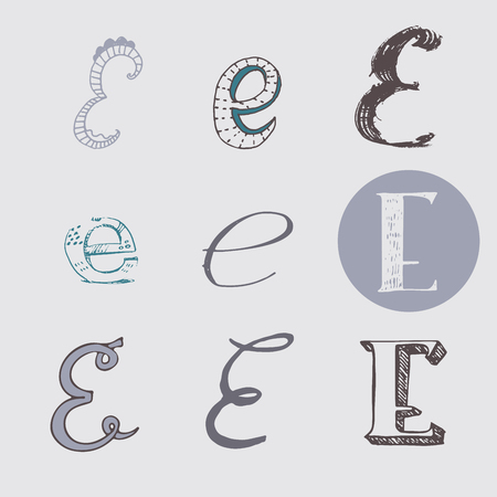 italic: Original letters E set, isolated on light gray background. Alphabet symbols, editable, hand drawn, creative, in different variations, Italic, 3d, freehand, drawn with brush and nib vector Illustration