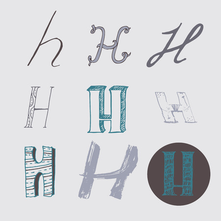 nib: Original letters H set, isolated on light gray background. Alphabet symbols, editable, hand drawn, creative, in different variations, Italic, 3d, freehand, drawn with brush and nib vector Illustration Illustration