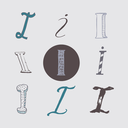 italic: Original letters I set, isolated on light gray background. Alphabet symbols, editable, hand drawn, creative, in different variations, Italic, 3d, freehand, drawn with brush and nib vector Illustration Illustration