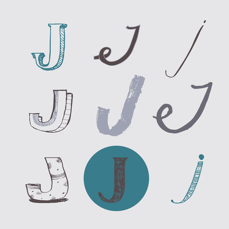 nib: Original letters J set, isolated on light gray background. Alphabet symbols, editable, hand drawn, creative, in different variations, Italic, 3d, freehand, drawn with brush and nib vector Illustration