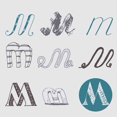 nib: Original letters M set, isolated on light gray background. Alphabet symbols, editable, hand drawn, creative, in different variations, Italic, 3d, freehand, drawn with brush and nib vector Illustration