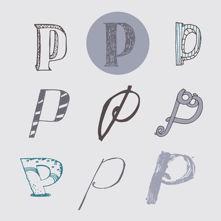 nib: Original letters P set, isolated on light gray background. Alphabet symbols, editable, hand drawn, creative, in different variations, Italic, 3d, freehand, drawn with brush and nib vector Illustration Illustration