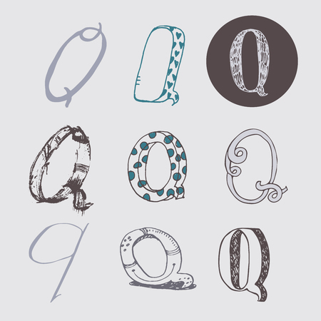 italic: Original letters Q set, isolated on light gray background. Alphabet symbols, editable, hand drawn, creative, in different variations, Italic, 3d, freehand, drawn with brush and nib vector Illustration