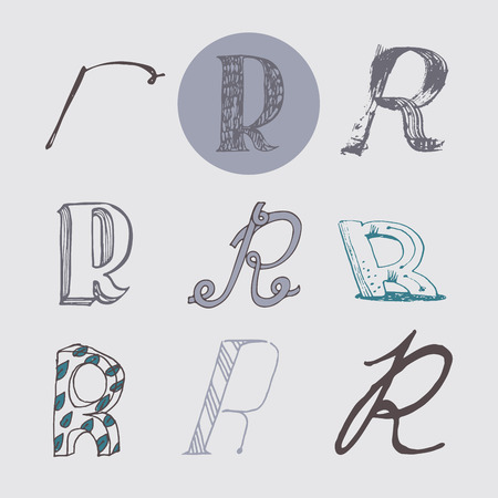 italic: Original letters R set, isolated on light gray background. Alphabet symbols, editable, hand drawn, creative, in different variations, Italic, 3d, freehand, drawn with brush and nib vector Illustration
