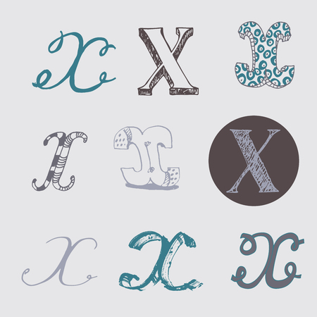 italic: Original letters X set, isolated on light gray background. Alphabet symbols, editable, hand drawn, creative, in different variations, Italic, 3d, freehand, drawn with brush and nib vector Illustration