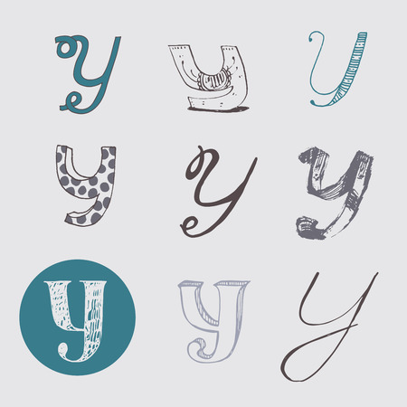 nib: Original letters Y set, isolated on light gray background. Alphabet symbols, editable, hand drawn, creative, in different variations, Italic, 3d, freehand, drawn with brush and nib vector Illustration Illustration