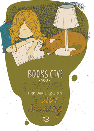Girl and cat sleeping on book. Vector hand drawn colorful large illustration, made with ink, Isolated on white, with simple motivating educational lettering quote, perfect for a bookstore, library.