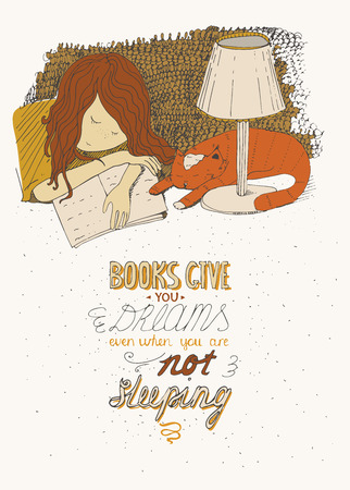 Girl and cat sleeping on book. Vector hand drawn colorful large illustration, made with ink, on beige background, with simple motivating educational lettering quote, perfect for a bookstore, library.