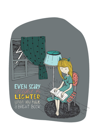 stormy: Girl reading book in stormy night. Vector hand drawn illustration made with ink and white paper. Colorful isolated on white image with simple motivating lettering quote, perfect for bookstore or library