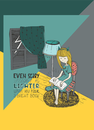 Girl reading book in stormy night. Vector hand drawn illustration, made with ink and white paper. Colorful image with simple motivating educational lettering quote, perfect for bookstore or library Illustration