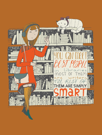 athenaeum: Girl and cat meeting in a library. Vector hand drawn illustration, made with black ink on terracotta background, with simple motivating educational lettering quote, perfect for a bookstore or library. Illustration