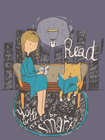 educative: Read. You will never be too smart. Motivational educative quote about books and education, with girl and cat reading together. Vector colorful illustration on purple background, hand drawn lettering.