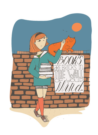 educative: Girl with books caress cat on brick wall. Lettering with educative quote on a placard. Books are bricks in the wall of your mind. Colorful hand drawn vector illustration, isolated on white background. Illustration
