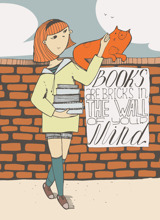 educative: Girl with books caress a cat on brick wall. Lettering with educative quote on a placard. Books are bricks in the wall of your mind. Colorful hand drawn vector illustration with sky and clouds. Illustration