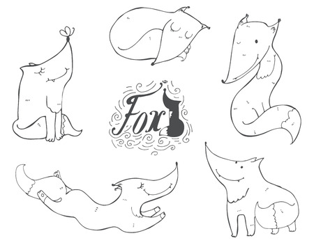 imperfections: Black and white set of  cute foxes in different poses, sleeping, sitting, jumping, standing. illustration with lettering and imperfections, good for character design or mascot.