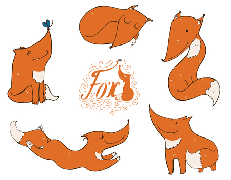 sly: Colorful set of cute ginger foxes in different poses, sleeping, sitting, jumping, standing. illustration with lettering and imperfections, good for character design or mascot