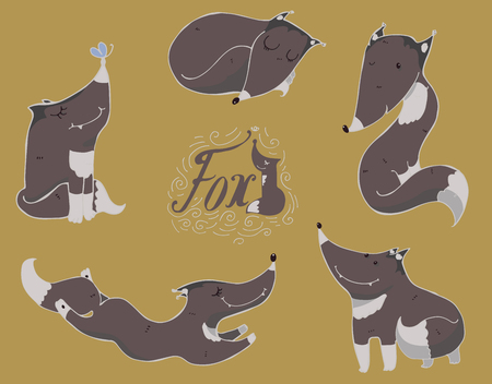 imperfections: Colorful set of cute black or grey foxes in different poses, sleeping, sitting, jumping, standing. illustration with lettering and imperfections, good for character design or mascot.