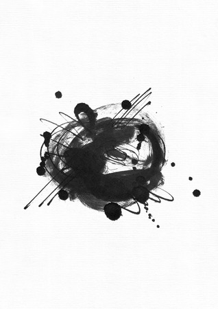 brisk: Large grainy abstract illustration with black ink circle, hand drawn with brush and liquid ink on watercolor paper. Drawn with imperfections, spray, splashes, ink drops and lines. Isolated on white. Stock Photo