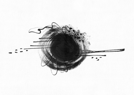 ink drops: Large grainy abstract illustration with black ink circle, hand drawn with brush and liquid ink on watercolor paper. Drawn with imperfections, spray, splashes, ink drops and lines. Isolated on white Stock Photo