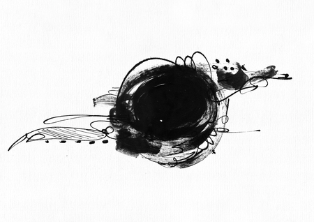 brisk: Large grainy abstract illustration with black ink circle, hand drawn with brush and liquid ink on watercolor paper. Drawn with imperfections, spray, splashes, ink drops and lines. Isolated on white Stock Photo