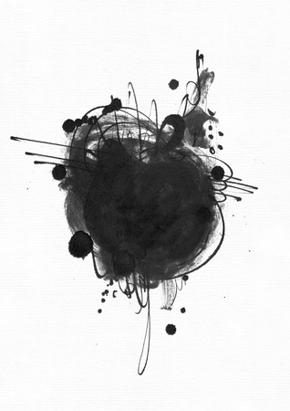 imperfections: Large grainy abstract illustration with black ink circle, hand drawn with brush and liquid ink on watercolor paper. Drawn with imperfections, spray, splashes, ink drops and lines. Isolated on white Stock Photo