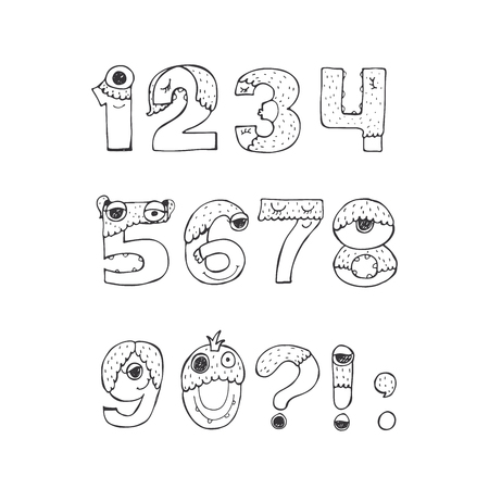 Vector set of fun funky monster digits from 1 to with punctuation marks, hand drawn, black and white, isolated on white. Good for lettering or font design, headers, t-shirts, kids illustration.