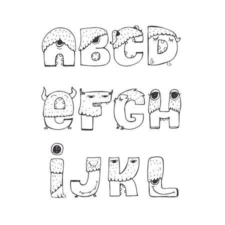 l hand: Vector set of fun funky monster font A to L, hand drawn, black and white, isolated on white. Good for lettering or font design, headers, t-shirts, kids illustration. Letters with noses, eyes, horns.