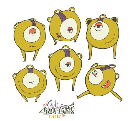 open eye: Vector colorful illustration with yellow cute monster character, isolated on white. Hand drawn alien in different emotions and poses, smiling, running, standing, with closed and open eye.