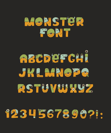 Vector cute colorful kind monster font. Every letter has unique design with fur, eyes, nose, mouth and teeth. Some have crowns and legs. Letters from A to Z, digits from 0 to 9 and punctuation marks.
