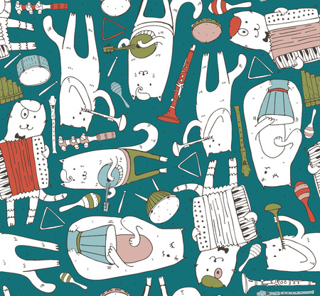 cats playing: Seamless pattern with musician cats and music instruments in bright colors. Cats are playing on drum, accordion, tube, guitar. Vector handdrawn illustration, cute. Kind child cartoon for kids products
