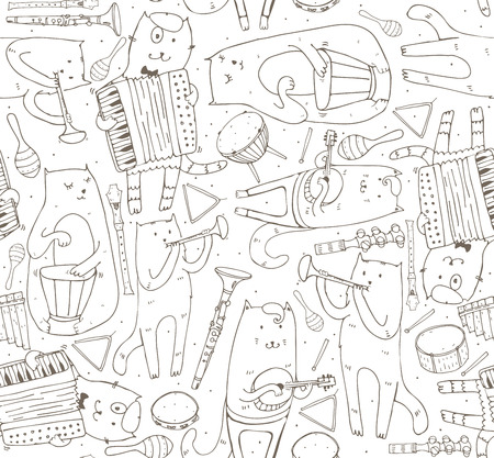 cats playing: Seamless pattern with musician cats and music instruments. Cats are playing on drum, accordion, tube, guitar. Vector handdrawn illustration, cute, black and white. Kind child cartoon for kids products.