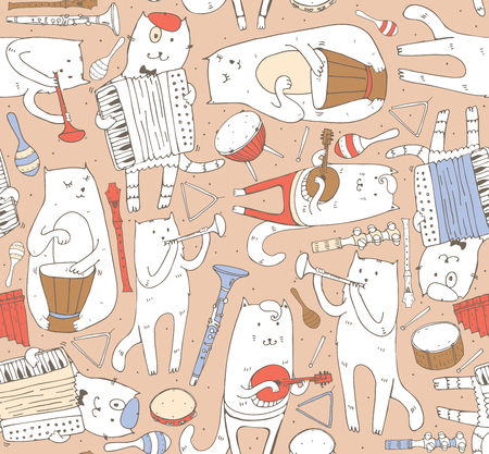 Seamless pattern with musician cats and music instruments in pastel colors. Cats are playing on drum, accordion, tube, guitar. Vector handdrawn illustration, cute. Kind child cartoon for kids products. Illustration