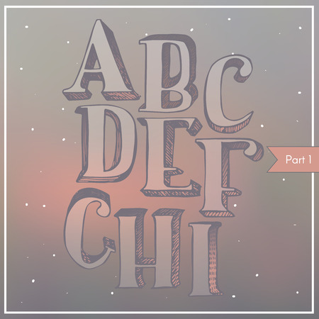 serif: Vector colorful 3d font on blur background, hatched, light, with gradient shadow. ABC sequence from letter A to I, stylish, in classic style with serif, good for lettering and print design. Hand drawn.