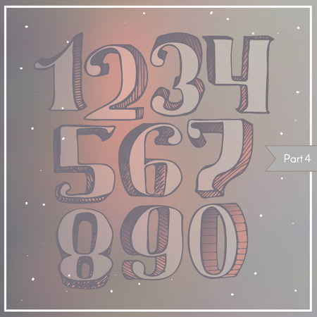 handdrawn: Vector colorful 3d digits on blur background, hatched, light, with gradient shadow. Numbers sequence from 1 to 9, stylish, in classic style with serif, good for lettering and print design. Hand drawn.