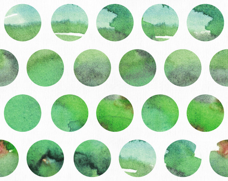 dye: Green watercolor horizontal illustration, grainy, large, based on circle shape pattern. Hand drawn, good for presentations, design or print. drawn with liquid dye and brush on watercolor paper Stock Photo