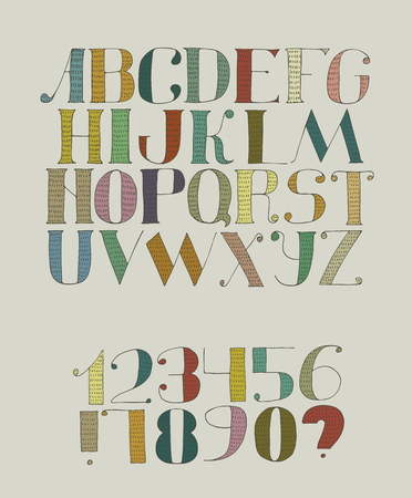 imperfections: Colorful funky vector illustration with hand drawn font with hatches. Abc letters from a to z, digits from 0 to 9 isolated on background. Font have dark vivid colors, imperfections, good for lettering