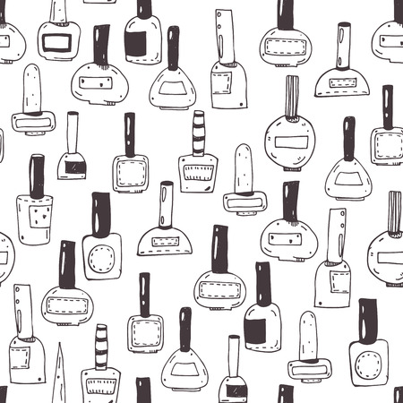 Seamless vector pattern with nail polish bottles, black and white. Handdrawn cute doodles in various shapes and caps. Illustration hand drawn with ink, fun, good for beauty shops or beauty salons