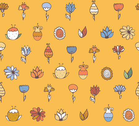 imperfections: Seamless stylish vector texture with colorful doodle flowers, simple, handdrawn on yellow background. Pattern drawn with brush and ink by hand, have imperfections, can be used for print, textile