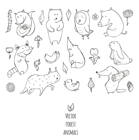 naive: Vector illustration with cute and naive forest animals. Hand drawn black and white set, decorated with flowers and birds, isolated on white. Bear, fox, raccoon, squirrel, owl, beaver, lynx, bunny, pig Illustration