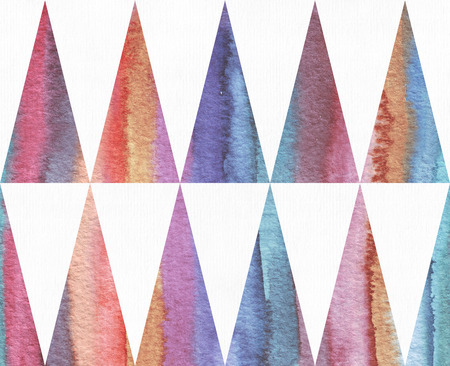 dye: Horizontal watercolor texture based on seamless stripe pattern and long triangles background, watercolor paper, hand drawn with brush and liquid dye. Illustration large, grainy, bright, good for print